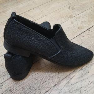 MIA Black Textured Faux Snakeskin Loafers …